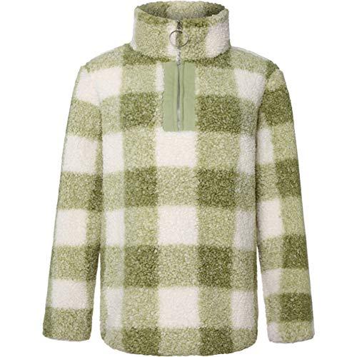 ZFQQ Abrigo de suéter a Cuadros de Manga Larga con Cremallera de Felpa para Mujer Otoño e Invierno