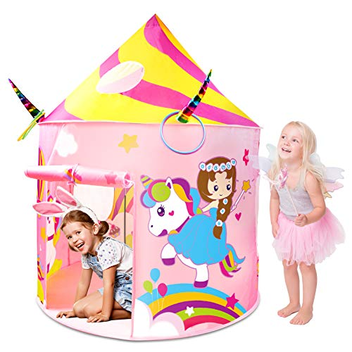 Kids Tent, Aywewii Play Tent for Kids, Unicorn Toys Princess Castle Play House Unicorn Girls Tent, Indoor Pop up Tent with Ring Toss, Cool Toys Gifts for Girls (Pink)