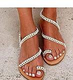 XQYPYL Sandalen Damen Bohemian Strass Sandals Frauen Sommer Flach Sandaletten Zehentrenner Mädchen Sandaletten Beach Schuhe,01,43