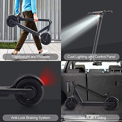 "QINGOR Electric Scooter Powerful 350W Motor 10"" Solid Tires One-Step Fold for Adults, Upgraded Adult Electric Scooters with Long Range Battery, Lightweight and Foldable for Commute and Travel"