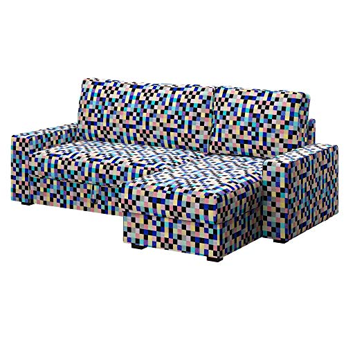 Soferia Ersatzbezug fur IKEA VILASUND Bettsofa mit Récamiere, Stoff Mozaik Blue, Blau