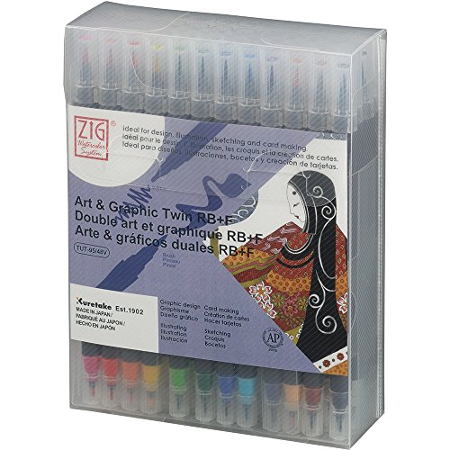 Kuretake ZIG ART & GRAPHIC TWIN RB+F 48 colors set, 0.8mm fine tip and Bristle brush tip, Ideal for design, illustration, Professional quality, AP-Certified, Odourless, Xylene Free, Made in Japan