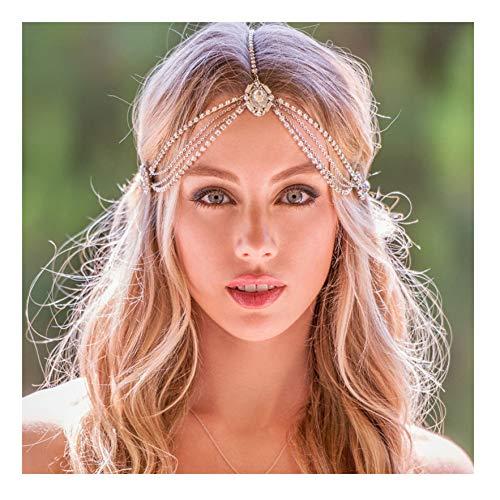 Kercisbeauty Prachtige Kristal Hoofd Ketting voor Vrouwen Bruids Tiara Goud Hoofdband met Strass Steentjes Bruiloft Hoofdstuk Prinses Haar Jurk