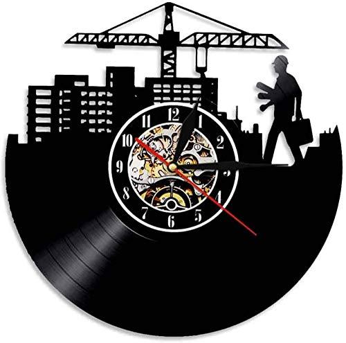 GVSPMOND Arquitectura Skyline Reloj De Pared con Disco De Vinilo Diseño Moderno Trabajador De La Construcción Arquitecto Reloj Decorativo Reloj De Pared Decorativo Único para El Hogar