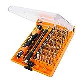 CHB Destornillador Manual reparación portátil Kit de Herramientas Abiertas Herramientas de reparación de telecomunicaciones Set 45 en 1 Juego de Destornilladores,JM8129