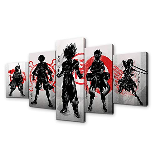 Japanese Anime One Piece Naruto Demon Slayer Poster Luffy Eren Tanjirou HD Print on Canvas Painting Wall Art for Living Room Decor Boy Gift (With Frame, MVP001)