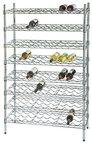 "Omega 14"" Deep x 36"" Wide x 86"" High 15 Chrome Single Wine Rack with 135 Bottle Storage Capacity"