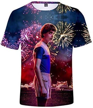 Camiseta Stranger Things Hombre, Camiseta Stranger Things Mujer Manga Corta Unisex Impresión 3D T Shirt Abecedario Impresión T-Shirt Niña Regalo ...