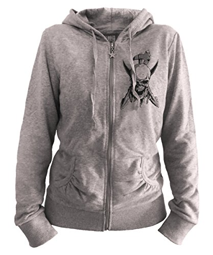 Stoned Washed Shirtz Lady Zipper - Skulls & ARMS - Pirat Totenkopf Waffen Axt Biker Tattoo, grau (XL)