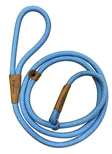 Wooflinen Ultra Reflective Premium Dog Slip Leash Made from Mountain Climbing Rope - Great for Training and The Strongest Pullers 6 Foot (Woof Blue)