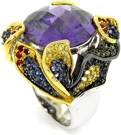 2-tone Hypnotic Large Amethyst discount CZ Pavé w Cocktail Ring Department store