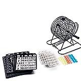 Heshan Juego de jaula de bingo con plástico Masterboard 75 bolas 18 tarjetas de la familia padre-hijo bola giratoria dispensador juguete
