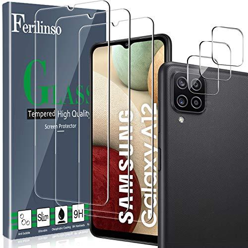 Ferilinso [6 Pack] 3 Piezas Protector de Pantalla para Samsung Galaxy A12/ M12 Cristal Templado + 3 Piezas Protector cámara Protector de Lente de Cámara [9H Dureza] [Compatible con la Funda]