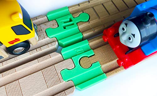 TrainLab Adapters Compatible with Thomas Wood 2018 and BRIO Wooden Railway Train Tracks 2pc (Green)