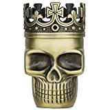 Golden Bell Upgraded Full Metal Spice Herb Skull Grinder - Bronze