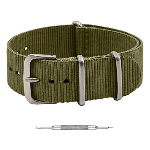 Benchmark Basics NATO Strap - Waterproof Ballistic Nylon Watch Band for Men & Women - Choice of Color & Width - 18mm, 20mm, 22mm or 24mm (20mm, Army Green)