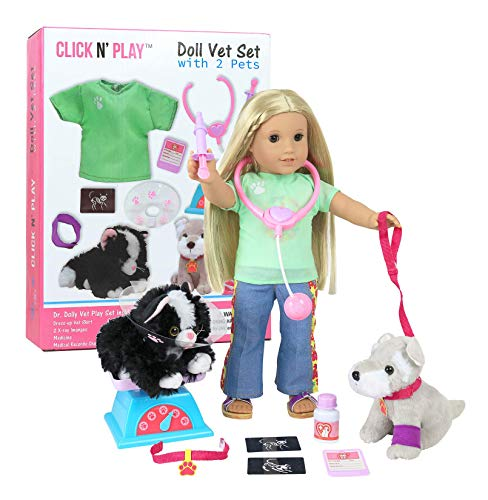 Click N' Play Doll Vet Set Doll Accessories 12Piece Set Perfect for 18' American Girl Dolls (CNP4075)