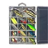 MKNZONE Conjunto de 21 Estuche para Señuelos con Accesorios, Señuelo de la Pesca Biónicos, Kits de Señuelos, Cebos Artificiales
