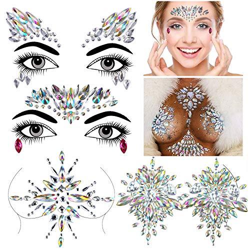 Face Gem Stickers, Konsait 4 piezas Etiqueta engomada de diamantes de imitación...