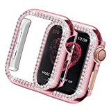 Yolovie Case Compatible for Apple Watch SE Series 6 5 4 40mm Bling Cases Crystal Diamond Shiny Rhinestone Bumper Protective Frame for Women Girl iWatch Face Cover (Double Diamonds, 40mm Pink)