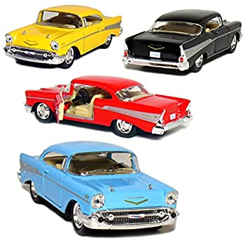 Kinsmart Set of 4  1957 Chevy Bel Air Coupe 1 40 Scale  Black/Blue/Red/Yellow