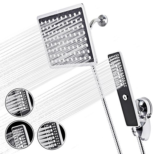 Duschkopf Set TAPCET Handbrausekopf,3 in 1 Handbrausekopf+8 Zoll Drehbarer Regenduschkopf+Brauseschlauch+Wasserweiche+Sauger Basishalterung +Teflonband/Schwarz