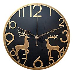 Yazhben Home Retro Metal Industrial Reindeer Wall Clock,12 Inch Round Digital Numerals Easy to Read Battery Operated Non-Ticking Easy to Read for Living Room (Gold Reindeer, 12 inch)