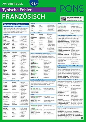 PONS Typische Fehler auf einen Blick Französisch - So vermeiden Sie die häufigsten sprachlichen Fettnäpfchen! (PONS Auf einen Blick)