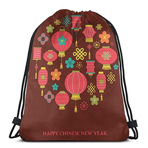 Hangdachang Bunte, festliche Feierlichkeitssymbole, Laternen, Knoten, Blumen, asiatische Kultur, verstellbarer Kordelverschluss, bedruckter Kordelzug, Rucksäcke