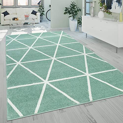 Alfombra Salón Pelo Corto Moderna Diseño Geométrico Motivo Rombos Verde, tamaño:140x200 cm