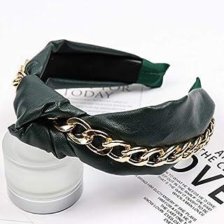 YJXUSHYQ البوهيمي بو الجلود بعقدة عصابة رأس للنساء الأزياء سلسلة الذهب مجوهرات الشعر سكرونشي (اللون: 2، الحجم: مجاني)