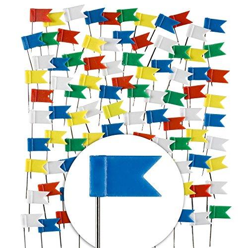 Goods & Gadgets 100 Stück Markierungs-Fahnen im XXL Pack; Markier-Fahnen-Pins in 5 Farben für Pinnwand, Landkarten & Weltkarten