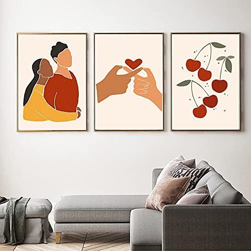Cuadro artístico en Lienzo, Pareja, Impresiones Dulces, póster e impresión,Mano con Mano, Amor, póster Abstracto, decoración de Pared, Imagen (55x75cm) X3 sin Marco