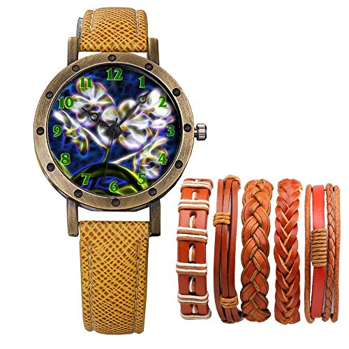 Meisjes Merk Retro Brons Vintage Lederen Band Dames Meisje Quartz Horloge Armband 6 Sets Abstract Bloemen 370.Paars Wit Vanda Plant Ascocenda Orchidee Violet
