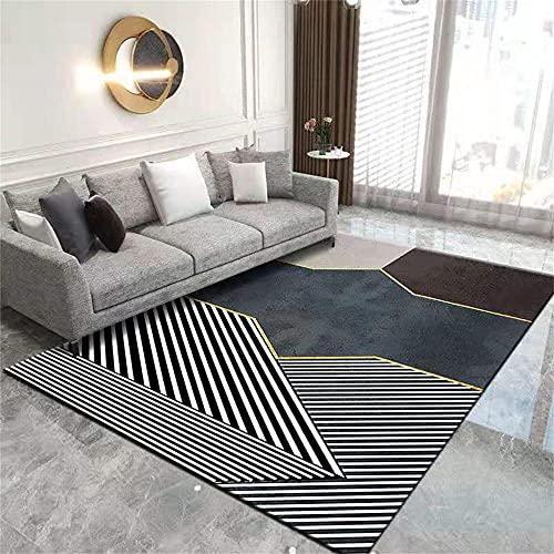 Cuadros Blancos Bedroom Mat Alfombra geométrica Creativa Alfombra Larga Cuadrada cómoda Antideslizante Alfombras Habitacion 140x200cm