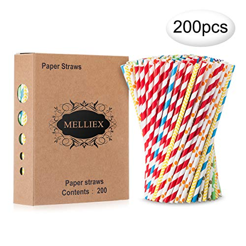 200PCS Pajitas de papel biodegradables Pajitas de papel de colores Pajitas...