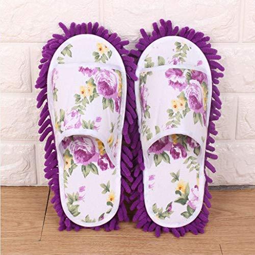 UXZDX Zapatillas De Fregona para Polvo para Mujer, Zapatillas De Microfibra para Casa, Zapatos De Dormitorio, Suaves Y Gruesos, Tipo De Almohadilla De Limpieza Separable (Color : Purple)
