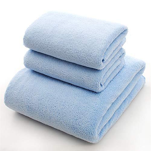 DOROCH 70x140 Microfibra Absorbente seco baño Toalla de Playa Toalla de Cara Piscina Ducha Toalla Toalla 5 Estilo sólido de Color Baño (Color : Blue, Size : 1pc35x75)