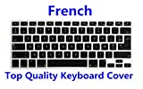 HRH AZERTY French Language Silicone Keyboard Cover Skin for MacBook Air 13,for MacBook Pro13/15/17 (with or w/Out Retina Display,2015 or Older Version)&for iMac Older,USA and European Layout