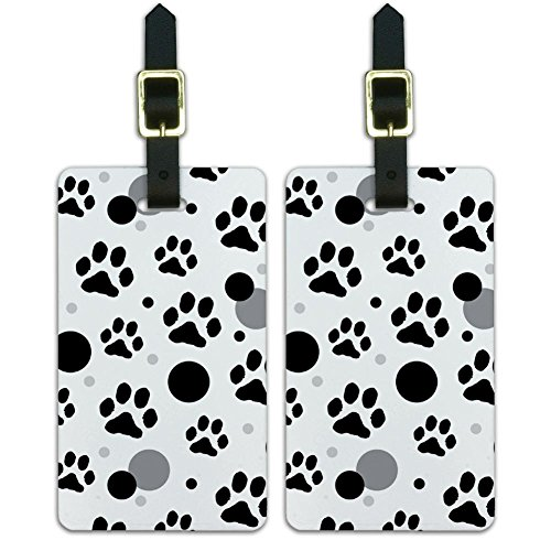 Graphics & More Luggage Suitcase Carry-on Id Tags-Paw Print Cat Dog-Black, White