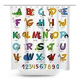 Coxila Animal ABC Duschvorhang Alphabet Muster bunt pädagogisch Kinder 152,4 x 183,9 cm Polyester Stoff wasserdicht 12 Pack Kunststoffhaken