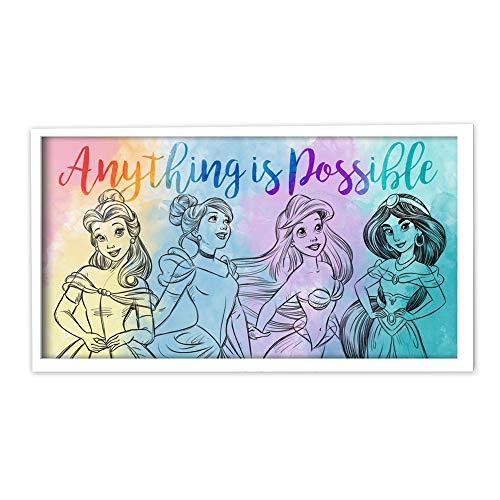 Silver Buffalo Disney Princess Watercolor Sketch Possible Framed MDF Wall Art, 10-Inch by 18-Inch, Multicolor