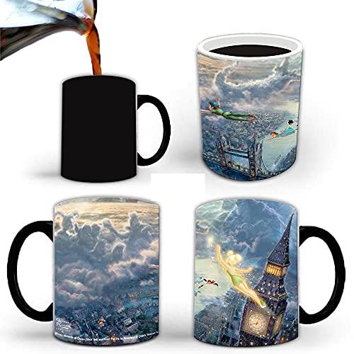 heshuqiaoFC Wonderful Fairy Tinker Bell Timeless Isle Taza Que Cambia De Color Taza De Cerámica con Sensor De Temperatura para Café Y Agua