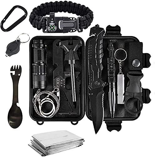 Tradista Survival Kit 15 in 1 - Außen Notfall Survival Kit mit Messer/Taktische Taschenlampe für Camping/Bushcraft/Wandern/Jagden/Outdoor Abenteuer