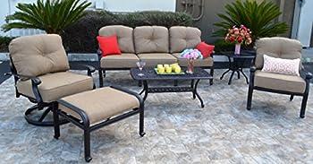 theWorldofpatio Elizabeth Cast Aluminum Powder Coated 6-Piece Seating Set with Sunbrella Cushions - Antique Bronze
