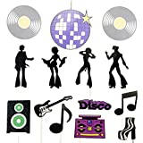 42 Pcs 70s 80s Disco Smart Cake Decorations Cupcake Topper for Halloween Christmas Disco Ball Dance Birthday Party Supplies Disco Party Decorations(14 styles)
