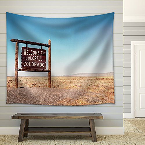 wall26 - Welcome to Colorado Roadside Wooden Sign at a Border with Utah in Northwestern Colorado - Fabric Wall Tapestry Home Decor - 68x80 inches