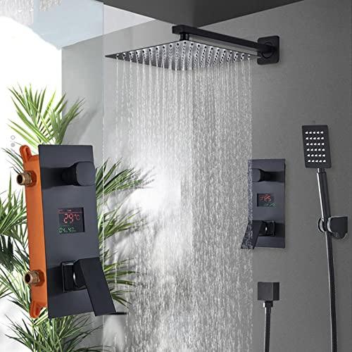 Huin Ducha de baño 2 funciones Juego de grifos de ducha digitales negros Cabezal de ducha de lluvia Mezclador de pantalla digital de 2 vías Grifo de ducha Mezclador-16 pulgadas
