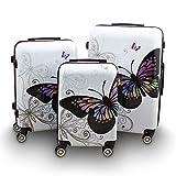 BERWIN® Design Koffer Reisekoffer Trolley Hartschalenkoffer Polycarbonat mit 4 Rollen als Set und Einzeln (Butterfly, 3er Set (M/L/XL))
