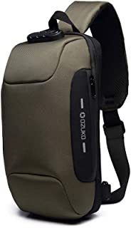 Wisfruit Anti Theft Sling Bag with USB Charging Port Casual Lightweight Chest Crossbody Daypack Waterproof